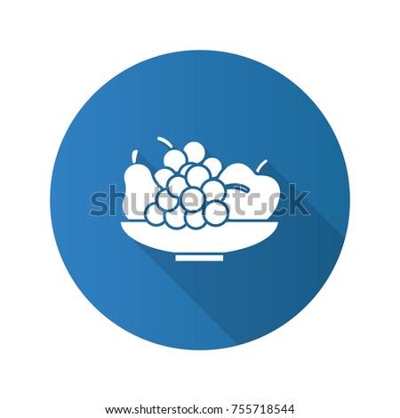 bowl with fruit flat design