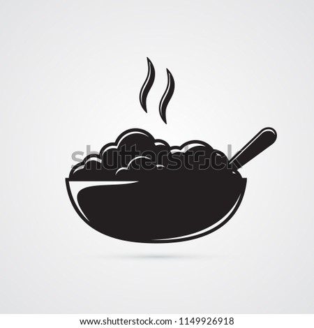 Bowl with porridge and spoon. Illustration for eating, hot meals, healthy food. Symbol of healthy breakfast. Carved silhouette flat icon, simple vector design.