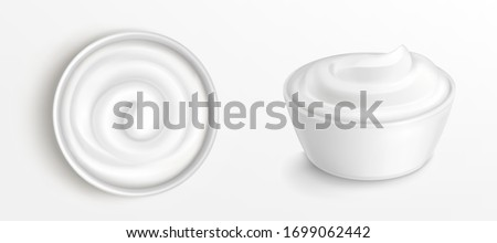 Bowl with sauce, cream. mayonnaise or yogurt top and front view. White porcelain cup with fresh dairy product, creamy cheese, sour or sweet mousse with swirl isolated realistic 3d vector clip art