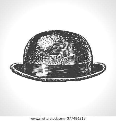 Bowler Hat. Hand drawn vintage engraved illustration. Vector format