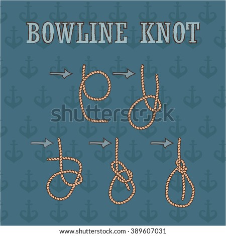 bowline knote manual. how to tie rope knot, vector illustration