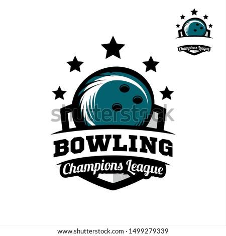 Bowling badge champions league logo vector