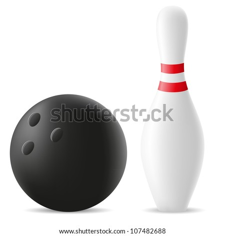 bowling ball and skittle vector illustration isolated on white background