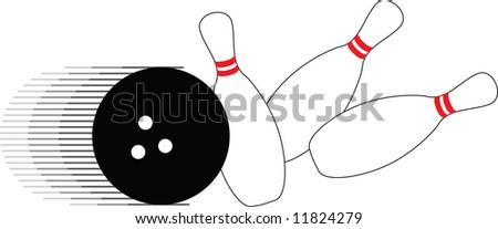 bowling ball and three pins