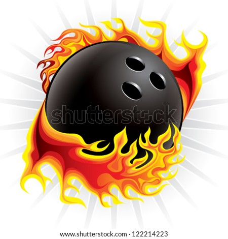 bowling ball in flame