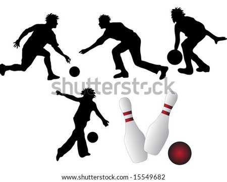 Bowling ball, pins and shadow bowlers