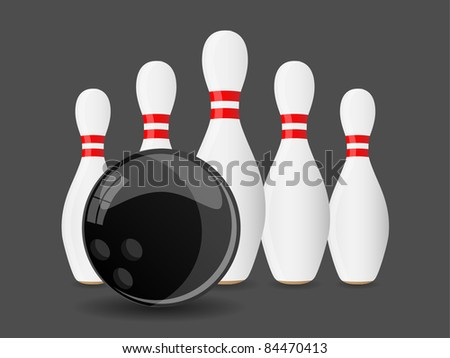 Bowling ball with pins. Vector.