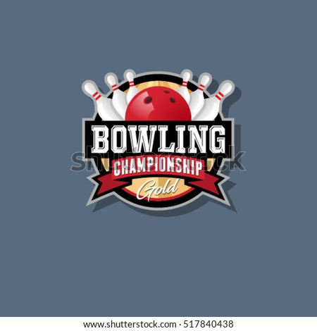 Bowling championship emblem. Bowling logo. Skittles and ball in a circle with ribbons.