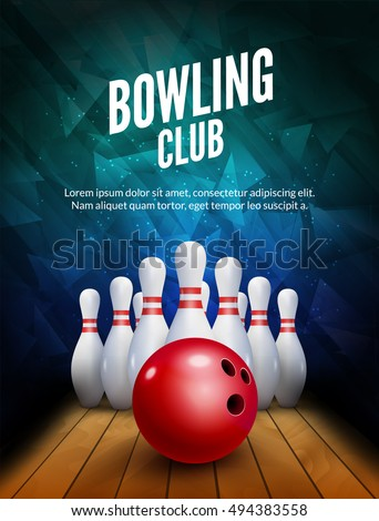 Bowling club poster with ball and bowling pins. Vector background template.