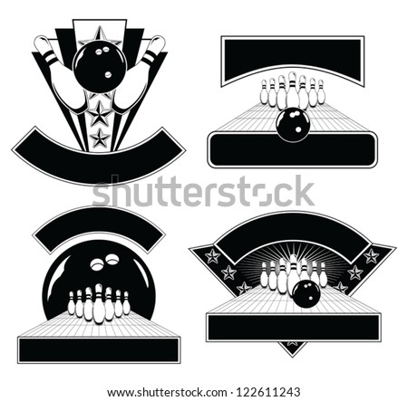 Bowling Design Emblem Templates is an illustration of four Bowling Design Templates including bowling balls, pins, and lanes. Great for t-shirts.