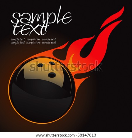 Bowling Fire Ball Vector Drawing