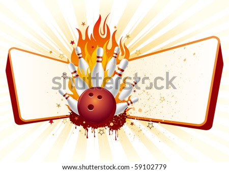 bowling,flames,design element