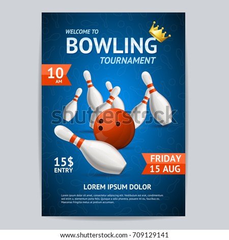 Bowling Game Tournament Poster Card Template Ball Crashing into Pins on a Blue. Vector illustration of Bowling Fun Activity