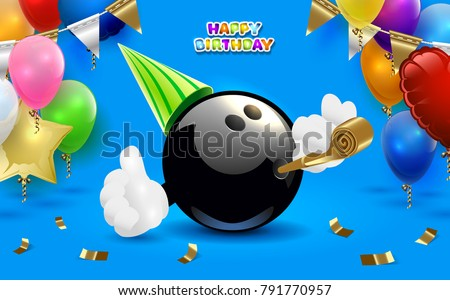Bowling happy birthday party. Vector clip art illustration.
