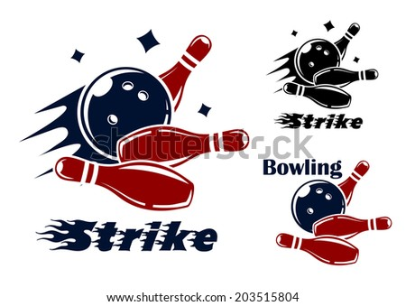 Bowling icons and symbols logo with the text Strike as the bowl hits the pins with speed and motion trails and one with the text Bowling and no motion trail