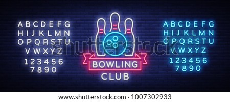 Bowling is a neon sign. Symbol emblem, Neon style logo, Luminous advertising banner, bright billboard, Design template for the Bowling Club, Tournaments. Vector illustration. Editing text neon sign