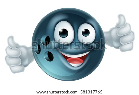 Bowling mascot cartoon bowling ball man character doing a double thumbs up