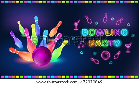 Bowling party template. Tv size banner. Vector clip art illustration.