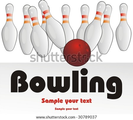 Bowling pins and ball. Vector