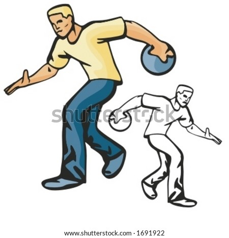 Bowling player. Vector illustration