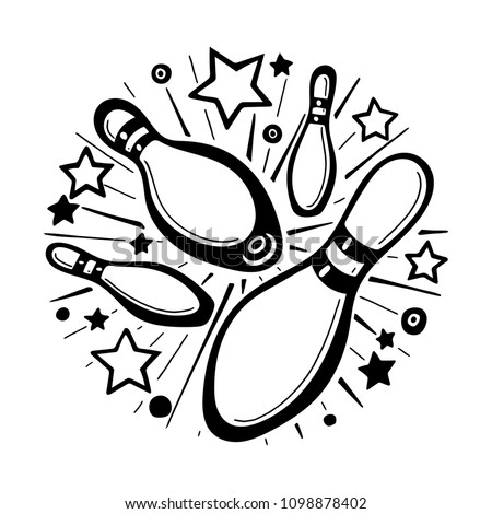 Bowling poster design concept. Hand drawn bowling strike illustration. Bowling pins sketch isolated on white background.