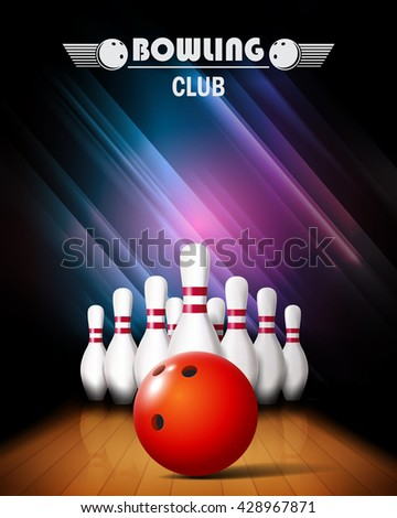 Bowling poster with ball and bowling pins.