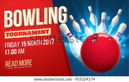 bowling realistic theme eps 10  pins ball place for text