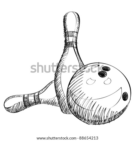 Bowling skittles and ball sketch vector illustration