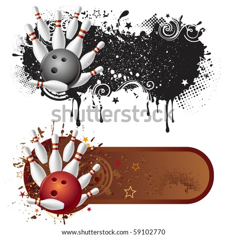 bowling sport and grunge ink - stock vector