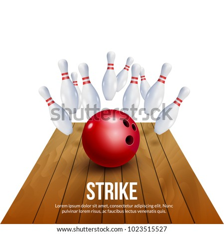Bowling strike realistic illustration background. Fire bowl game leisure concept, Bowling club poster design