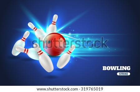 Bowling strike with ball and bowling pins on blue background realistic vector illustration
