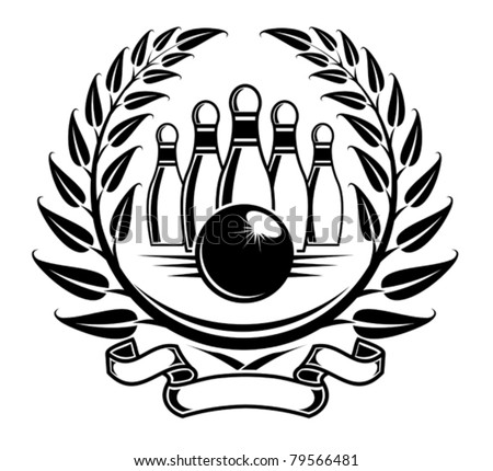 Bowling symbol in laurel wreath in retro style. Jpeg version also available in gallery