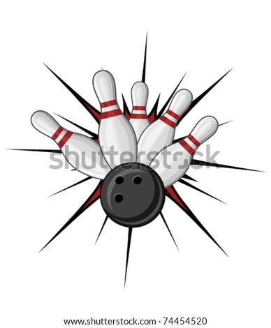 Bowling symbol isolated on white for sports design. Jpeg version also available in gallery