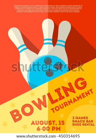 Bowling tournament  poster or  flyer.  Abstract vector illustration of bowling game, ball and pins. Flat style. Can be used for ad, promotion. Layout template in A4 size.