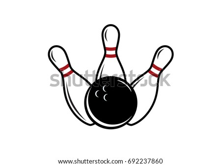 Bowling vector. Bowling pin and bowling ball. Bowling on a white background