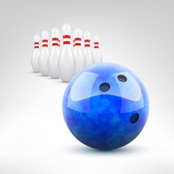 Bowling vector illustration. Grey blue ball and pins isolated.