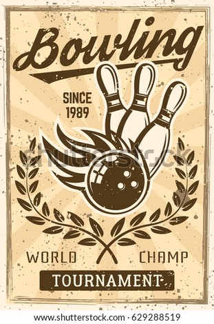 bowling vintage poster with...
