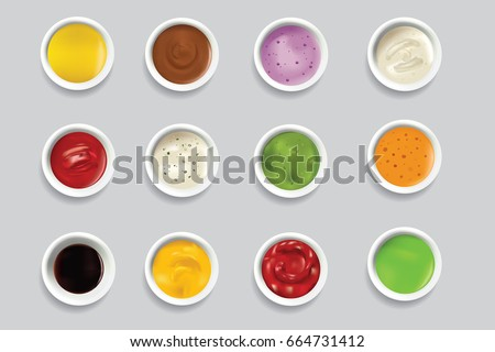 Shutterstock Bowls dip bowl sauces gravy dressing top view spicy food ingredient condiment delicious flavor seasoning spice vector illustration.