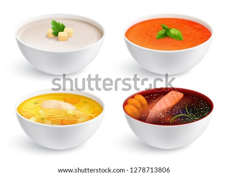 Bowls full of chicken noodle soup gazpacho fish soup and soup puree with crouton  realistic set isolated vector illustration Stock photo ©