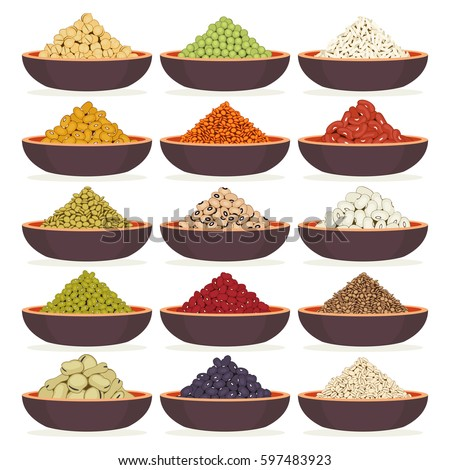 Bowls of dried cereals and legumes isolated on white background