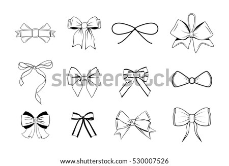 Bows Black and white silhouette images. Vector Illustration Isolated On White Background.