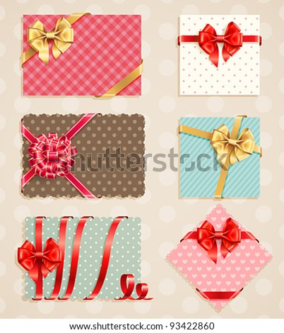 Bows Collection with vintage greeting cards. Vector illustration.