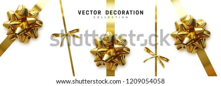 Bows gold realistic design. Decorative gift bows with ribbons isolated on white background