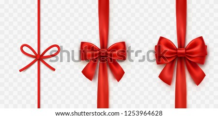Bows isolated on transparent background. Vector Christmas satin ribbons, string or rope with bow set. Red xmas wrap element template.