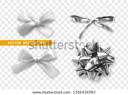 Bows silver realistic design. Isolated gift bows with ribbons with shadow