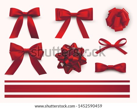 Bows with ribbons set, decorative and festive design. Vector realistic bows illustration isolated on white background