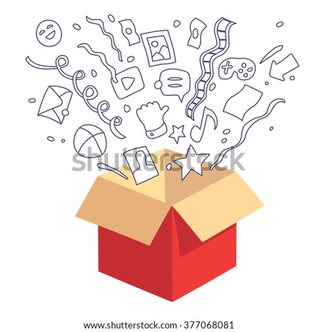 Box and multimedia. Red color opened box and multimedia icons set, isolated on white background, vector hand drawn, doodle and flat style illustration.