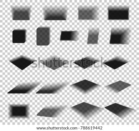 Box and paper shadow with soft edges isolated on transparent background. Empty square Shadow - Elements for product design. Vector illustration