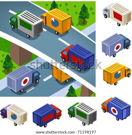Box Car delivery. vector vehicle set isometric series