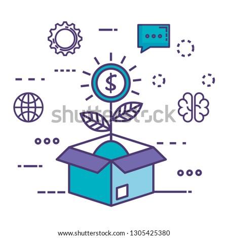 box carton with innovation icons